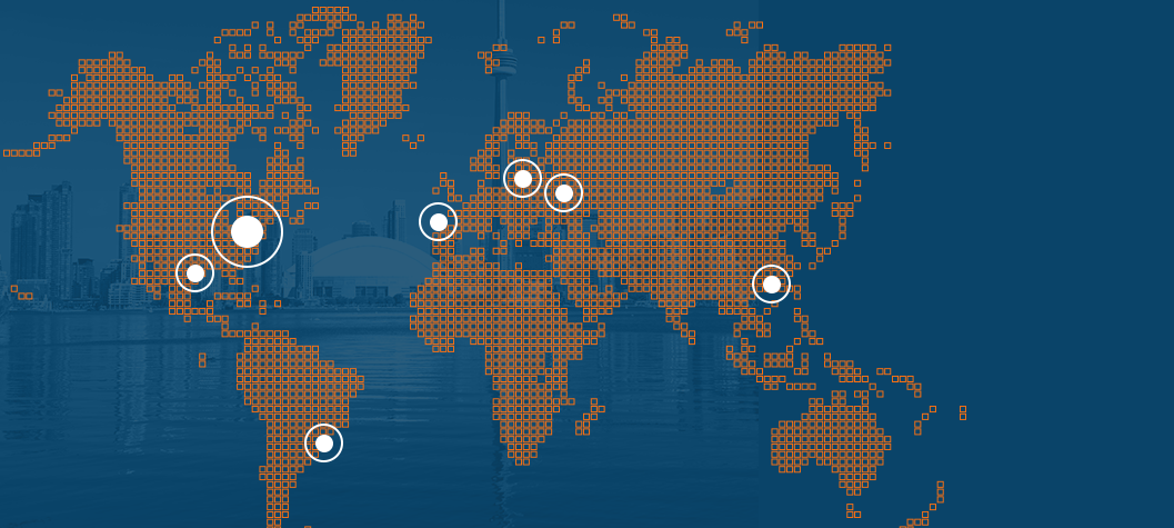 Map of the locations where Infrabiz operates, where is pinned: Houston, São Paulo, Lisbon, Moscow and Hong-Kong.